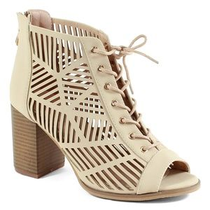 Shoes - Open Toe Laced Up Spring Cut Out Ankle Booties